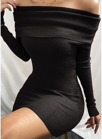 Egyszínű Hosszú ujjú Testre simuló ruhák Térd feletti Kis fekete/Szexis/Hétköznapokra φορέματα