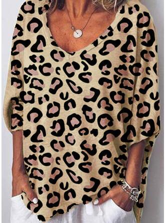 Leopardo Cuello en V Mangas 3/4 Casual Camisetas