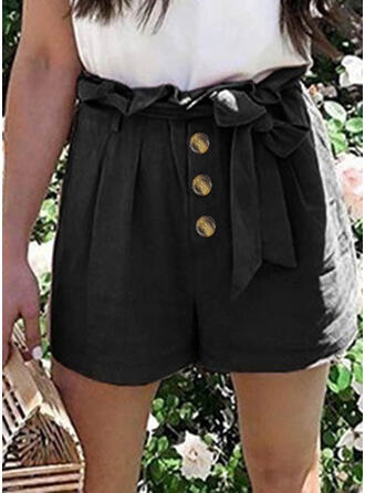 Solid Drawstring Elegant Solid Shorts