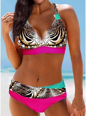 Leopardo Impresión Sin Mangas Cuello en V Sexy Bikinis Trajes de baño