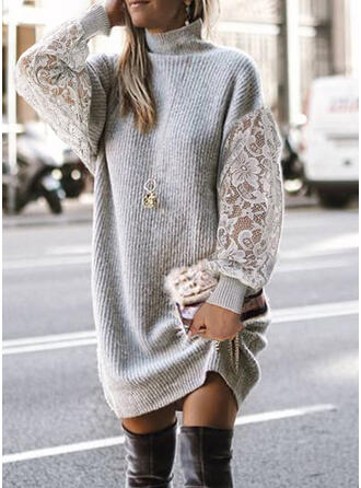Lace/Solid Long Sleeves Casual Dresses