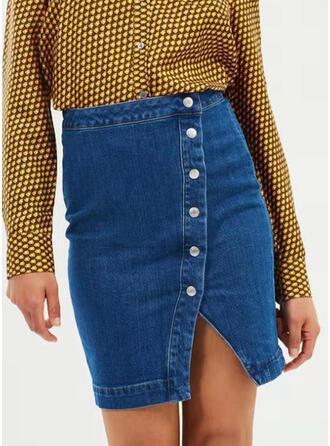 デニム プレーン 膝上 鉛筆のスカート