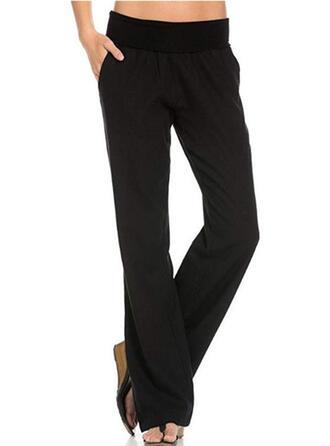 Kieszenie Marszczona Długo Nieformalny Elegancki Jednolity Równina Spodnie