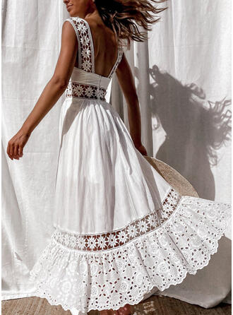 Lace/Solid/Backless Sleeveless A-line Skater Vacation Maxi Dresses