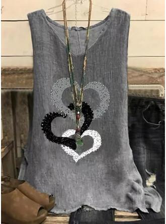 Καρδιά Minta V-nyak Αμάνικο Μπλουζάκια