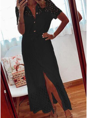 Encaje/Sólido Manga Corta Cubierta Pequeños Negros/Casual/Elegante Midi Vestidos
