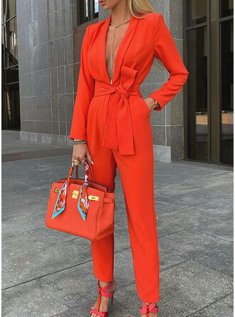 Solid V-Neck Long Sleeves Casual Elegant Jumpsuit