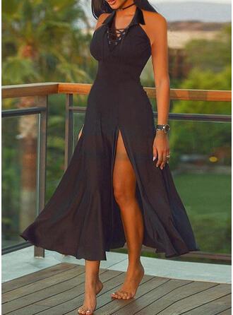 Sólido Sin mangas Vestido línea A Patinador Pequeños Negros/Casual Midi Vestidos
