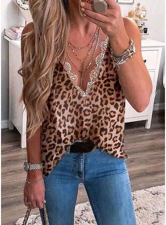 Impresión Encaje Leopardo Cuello en V Sin mangas Casual Camisetas sin mangas