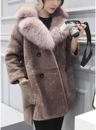 műszőrme Hosszú ujjú Egyszerű Blend kabátok