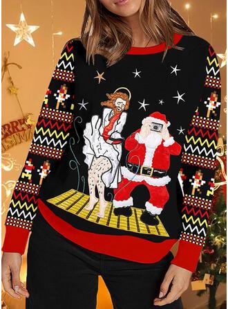 De mujer Impresión raya Santa claus Suéter feo de navidad