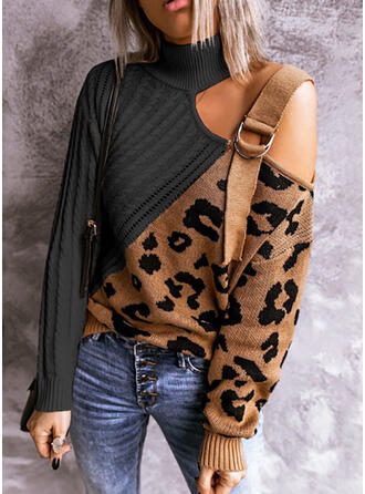 Color Block Leopard High Neck Casual Sweaters