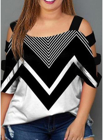 Bloque de color Top sin Hombros Manga 1/2 Casual Tallas Grande Blusas