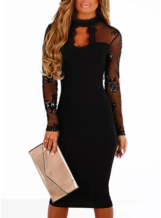 Lace/Sequins Long Sleeves Bodycon Knee Length Little Black/Party/Elegant Dresses
