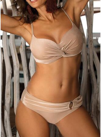 Color Sólido Cintura Baja Correa Elegante Bikinis Trajes de baño
