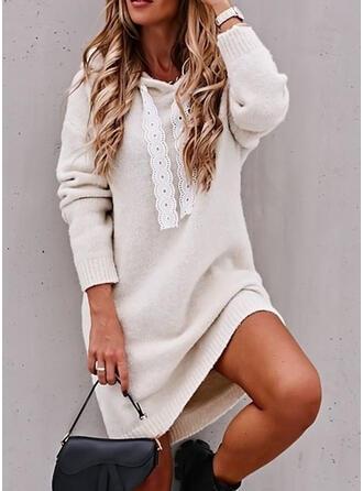 Solido Cappuccio Casual Lungo Abito maglione