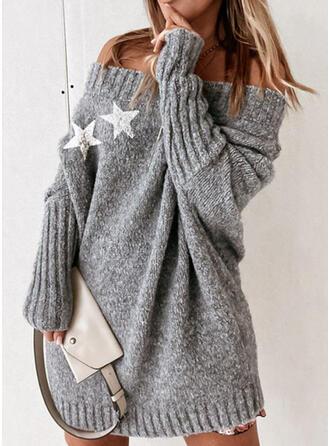 印刷 Knit 長袖 ドロップショルダー シフトドレス 膝上 カジュアル セーター ドレス