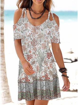 Impresión/Floral Top sin hombros Tendencia Sobre la Rodilla Casual/Vacaciones Vestidos