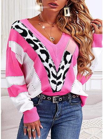 Print Color Block Leopard V-Neck Casual Sweaters
