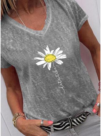 Figur Blommig Print V-ringning Korta ärmar T-tröjor
