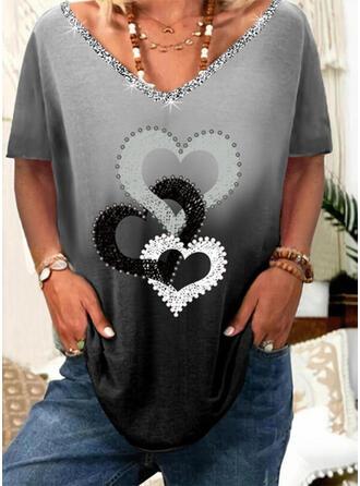 Lutning Hjärta Print Paljetter V-ringning Korta ärmar T-tröjor