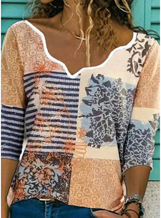 Print Lapwerk Gestreept V-hals 3/4 Mouwen Casual Overhemd