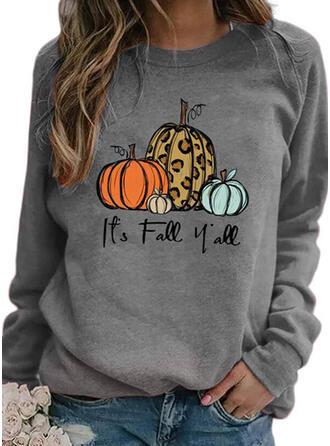 Halloween Print Leopard Bogstav Rund hals Lange ærmer Sweatshirts
