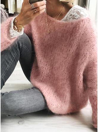 Sólido Gola Redonda Casual Suéteres