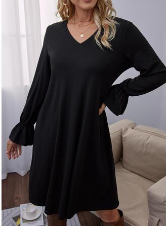 固体 長袖 フレアスリーブ シフトドレス 膝上 リトルブラックドレス/カジュアル チュニック ドレス