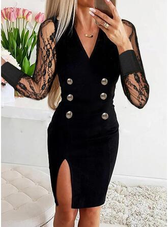 固体 長袖 シースドレス 膝上 エレガント ドレス