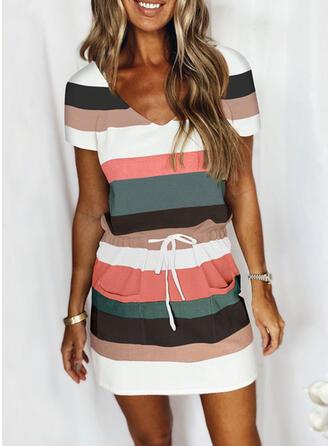 Stribe Color Block Casual Plus størrelse tee & 2-delt tøj sæt