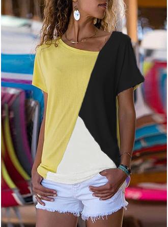 Color Block V-Neck Short Sleeves Casual Knit T-shirts