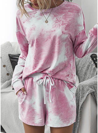Tie Dye Drawstring Casual Print Suits