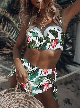 Fleuris Taille Haute Imprimé Faire monter À Bretelles Sexy Bikinis Maillots De Bain