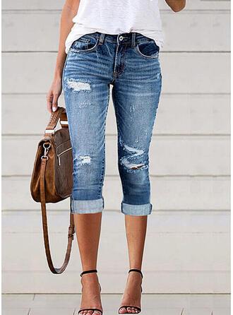 Solid Denim Capris Plus Size Office/Business Pocket Shirred Ripped Pants Denim & Jeans