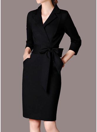 Sólido Manga Larga Cubierta Hasta la Rodilla Pequeños Negros/Casual/Elegante Vestidos
