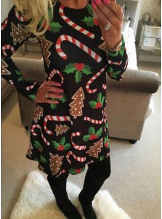 Print Long Sleeves Shift Knee Length Christmas/Party Tunic Dresses