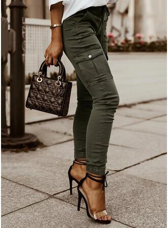 Sólido Largo Casual Tallas Grande Oficina / Negocios Bolsillo Botones Pantalones