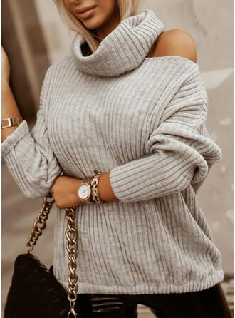 固体 ハイネック カジュアル セーター