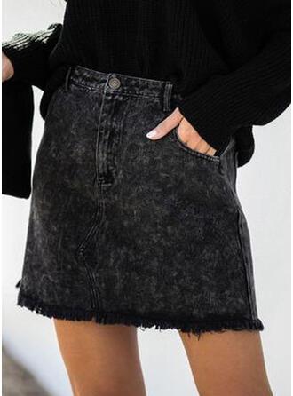 デニム プレーン 膝上 ボディコンスカート
