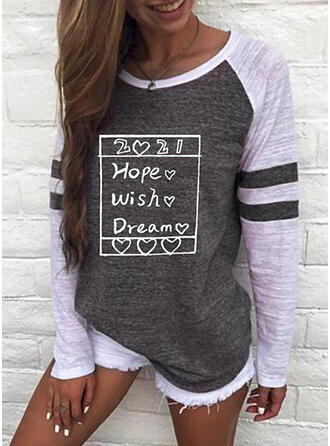 Color Block Figure Heart Print Round Neck Long Sleeves T-shirts
