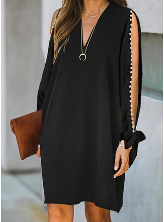 Solid Long Sleeves/Cold Shoulder Sleeve Shift Knee Length Little Black/Elegant Tunic Dresses