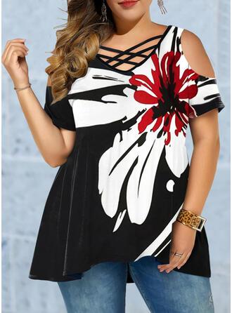 Floral Impresión Cuello en V Manga Corta Casual Tallas Grande Blusas