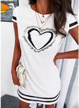 Impresión/raya/Corazón Manga Corta Vestidos sueltos Sobre la Rodilla Casual Túnica Vestidos