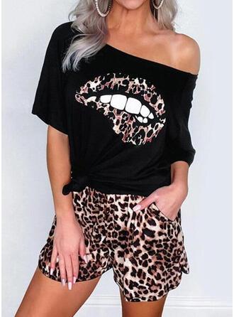 Leopard Print Fritids blus & Tvådelade kläder uppsättning