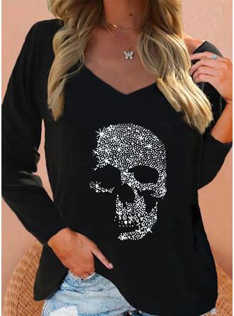Impresión Skull Head Cuello en V Manga Larga Camisetas