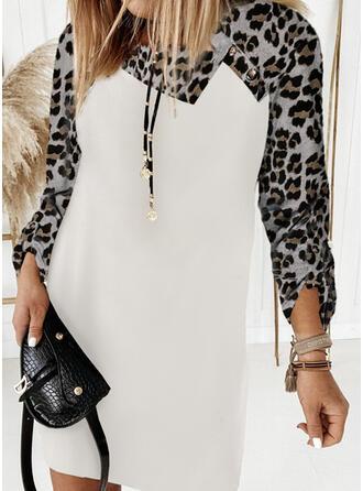Trozos de color/Leopardo Manga Larga Vestidos sueltos Sobre la Rodilla Casual Camiseta Vestidos