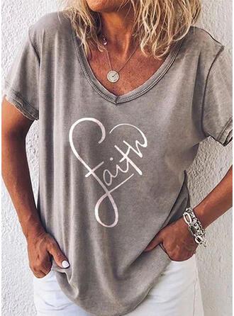 Figur Hjärta Print V-ringning Korta ärmar T-tröjor