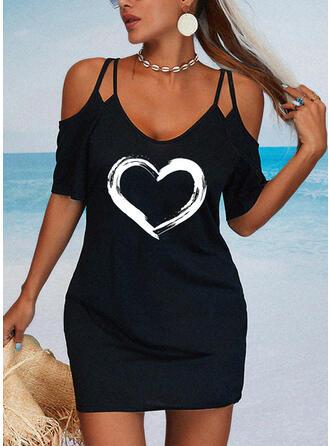印刷/ハート 1/2袖 シースドレス 膝上 カジュアル ドレス
