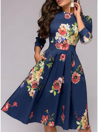 Print/Floral 3/4 Sleeves A-line Knee Length Vintage/Casual/Party/Elegant Dresses